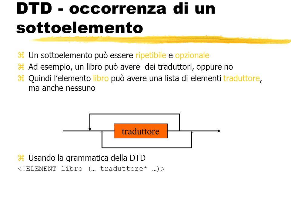 DTD - occorrenza di un sottoelemento zUn sottoelemento può essere ripetibile e opzionale zAd esempio, un libro può avere dei traduttori, oppure no zQu