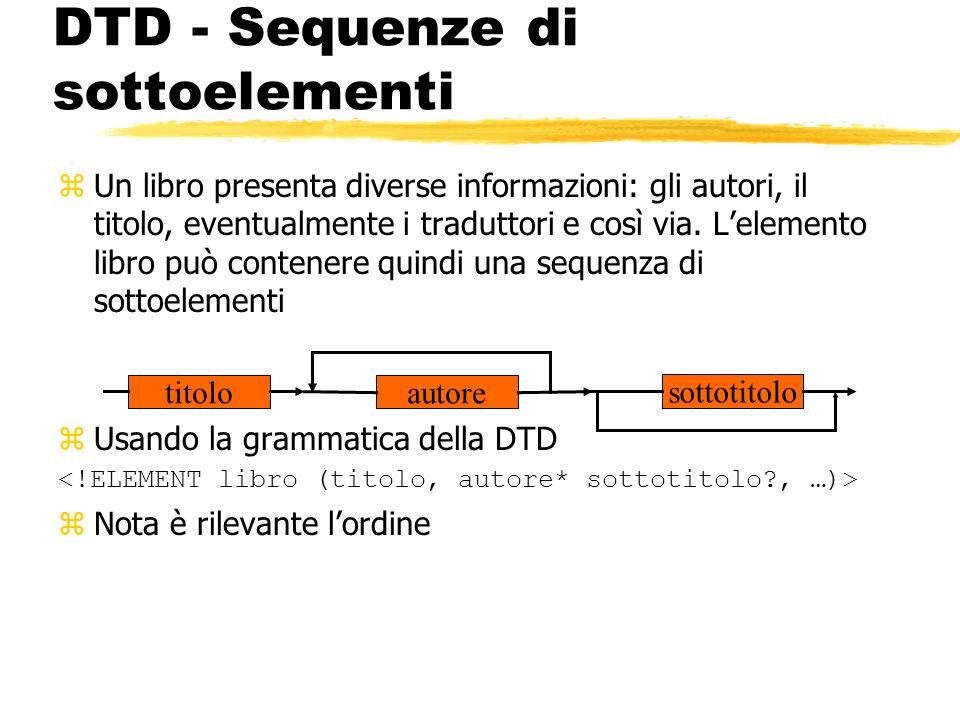 DTD - Sequenze di sottoelementi zUn libro presenta diverse informazioni: gli autori, il titolo, eventualmente i traduttori e così via. Lelemento libro
