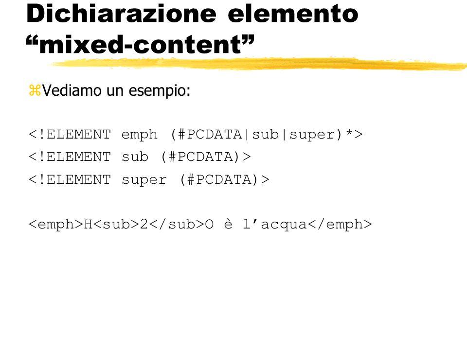 Dichiarazione elemento mixed-content zVediamo un esempio: H 2 O è lacqua