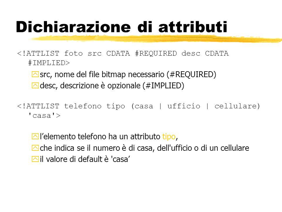 Dichiarazione di attributi ysrc, nome del file bitmap necessario (#REQUIRED) ydesc, descrizione è opzionale (#IMPLIED) ylelemento telefono ha un attri