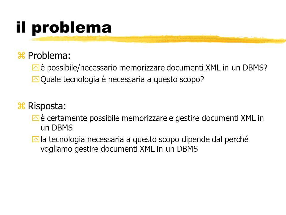 il problema zProblema: yè possibile/necessario memorizzare documenti XML in un DBMS? yQuale tecnologia è necessaria a questo scopo? zRisposta: yè cert