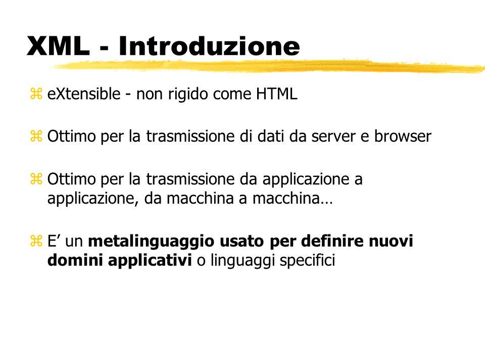 XML - Introduzione zeXtensible - non rigido come HTML zOttimo per la trasmissione di dati da server e browser zOttimo per la trasmissione da applicazi