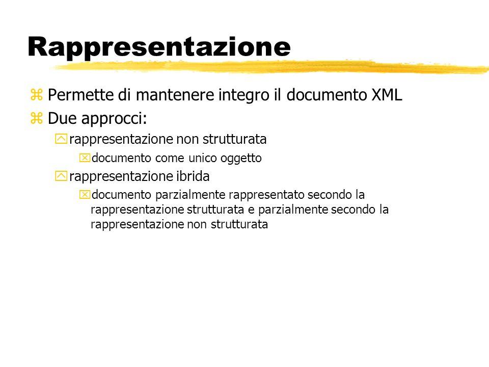 Rappresentazione zPermette di mantenere integro il documento XML zDue approcci: yrappresentazione non strutturata xdocumento come unico oggetto yrappr
