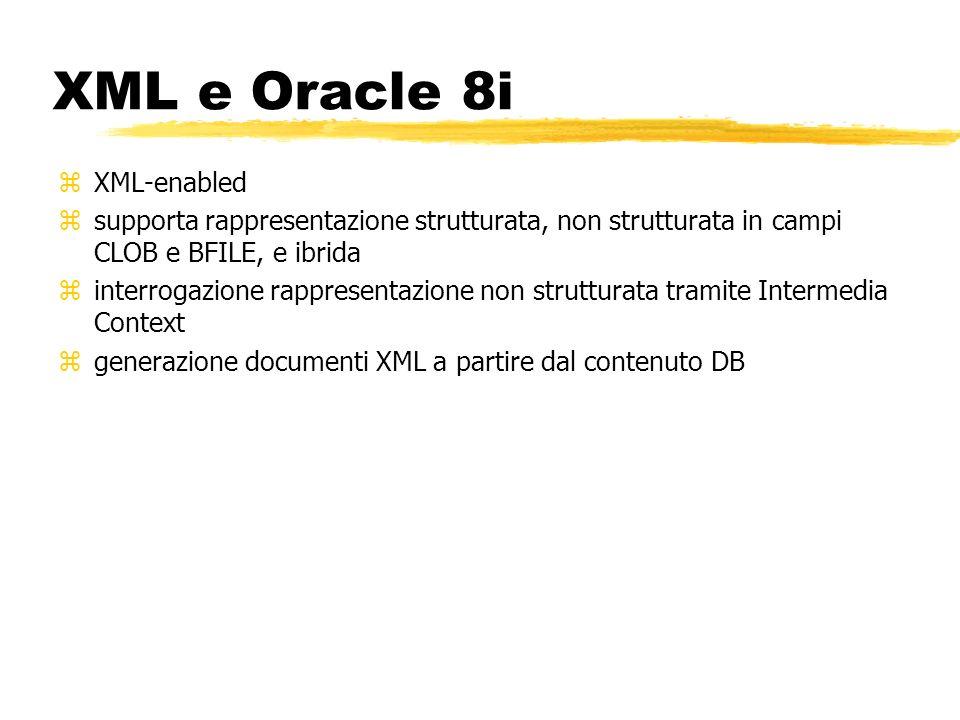 XML e Oracle 8i zXML-enabled zsupporta rappresentazione strutturata, non strutturata in campi CLOB e BFILE, e ibrida zinterrogazione rappresentazione