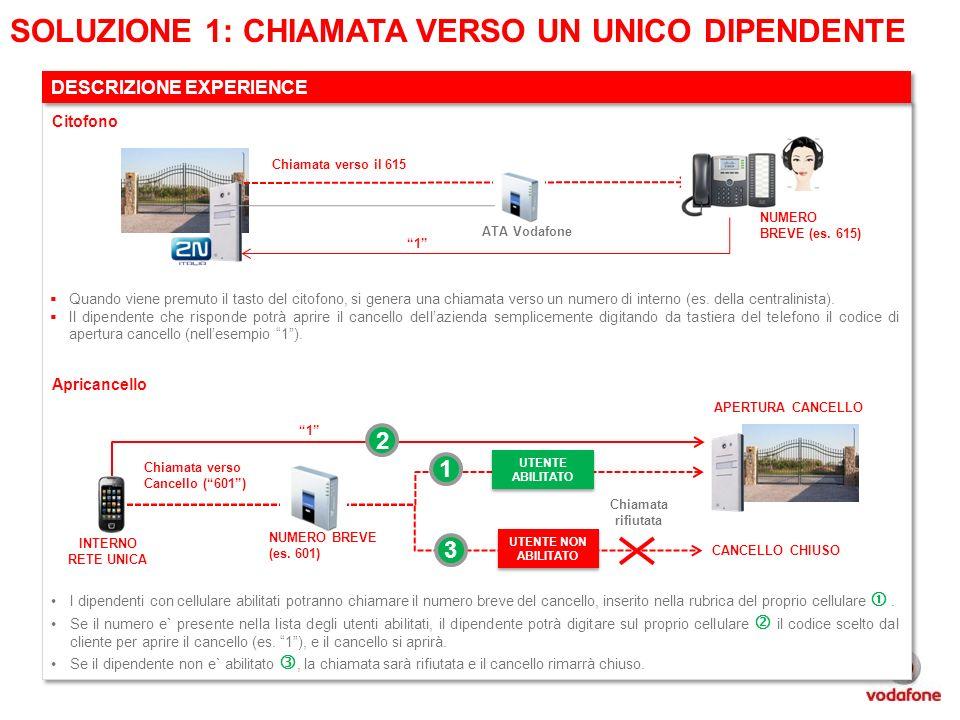 Chiamata verso il 615 1 ATA Vodafone SOLUZIONE 1: CHIAMATA VERSO UN UNICO DIPENDENTE DESCRIZIONE EXPERIENCE Quando viene premuto il tasto del citofono