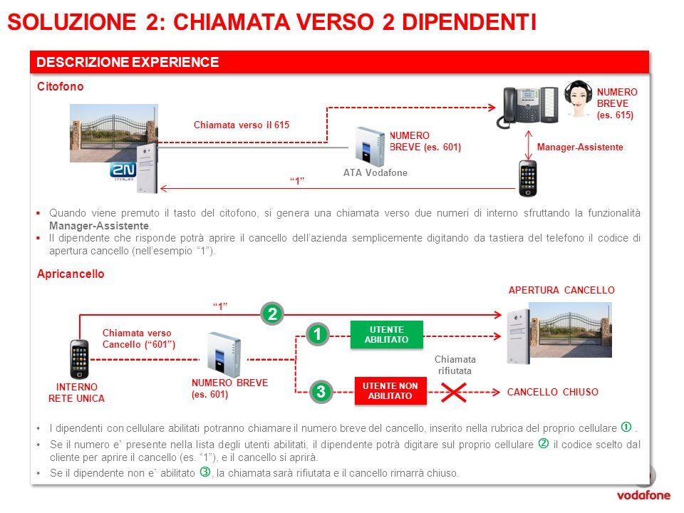 Chiamata verso il 615 1 NUMERO BREVE (es. 601) ATA Vodafone SOLUZIONE 2: CHIAMATA VERSO 2 DIPENDENTI DESCRIZIONE EXPERIENCE Quando viene premuto il ta