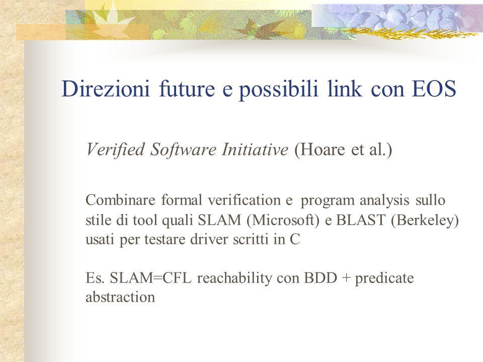 Direzioni future e possibili link con EOS Verified Software Initiative (Hoare et al.) Combinare formal verification e program analysis sullo stile di