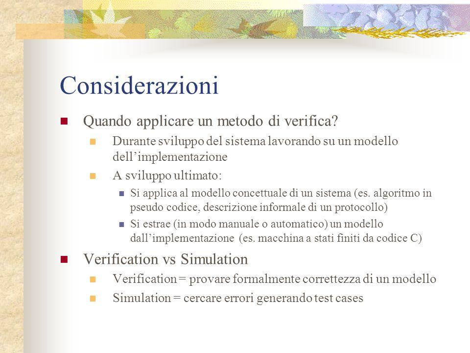 Considerazioni Quando applicare un metodo di verifica? Durante sviluppo del sistema lavorando su un modello dellimplementazione A sviluppo ultimato: S