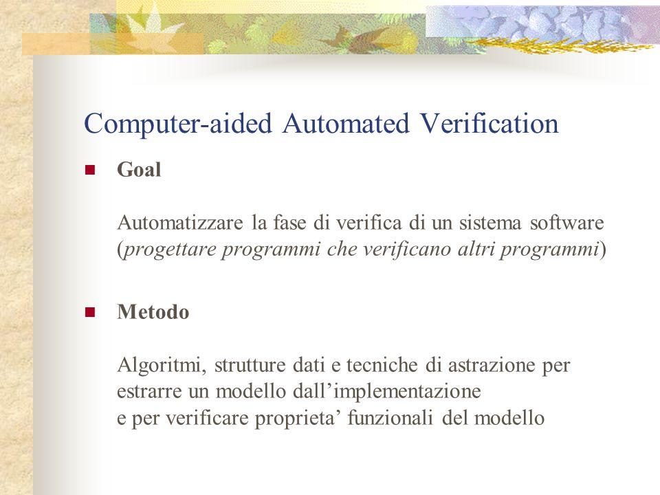 Computer-aided Automated Verification Goal Automatizzare la fase di verifica di un sistema software (progettare programmi che verificano altri programmi) Metodo Algoritmi, strutture dati e tecniche di astrazione per estrarre un modello dallimplementazione e per verificare proprieta funzionali del modello