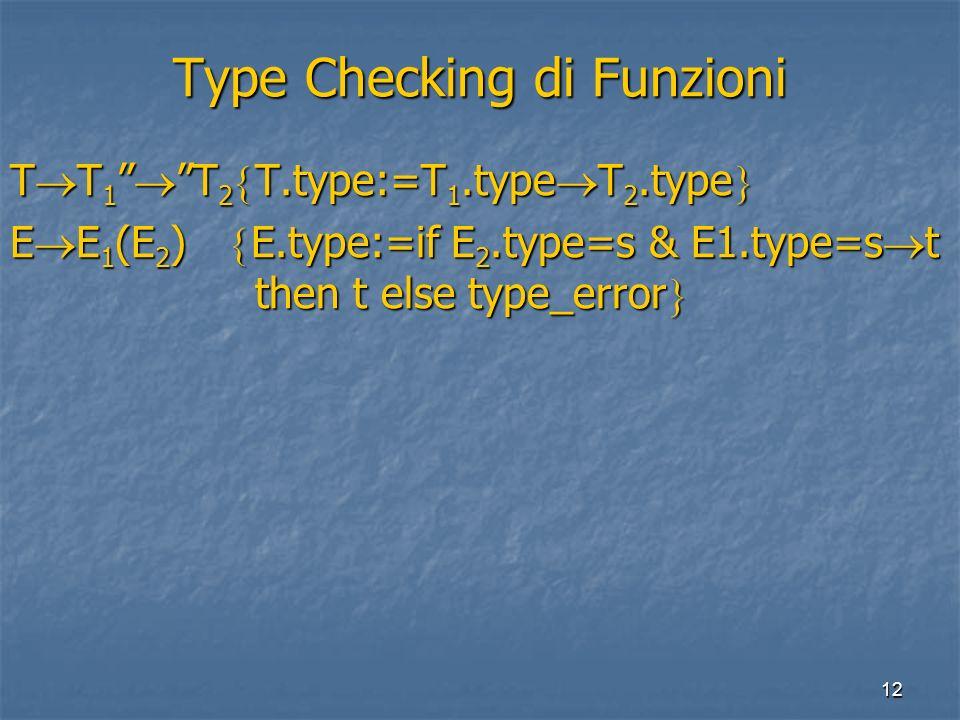 12 Type Checking di Funzioni T T 1 T 2 T.type:=T 1.type T 2.type T T 1 T 2 T.type:=T 1.type T 2.type E E 1 (E 2 ) E.type:=if E 2.type=s & E1.type=s t then t else type_error E E 1 (E 2 ) E.type:=if E 2.type=s & E1.type=s t then t else type_error