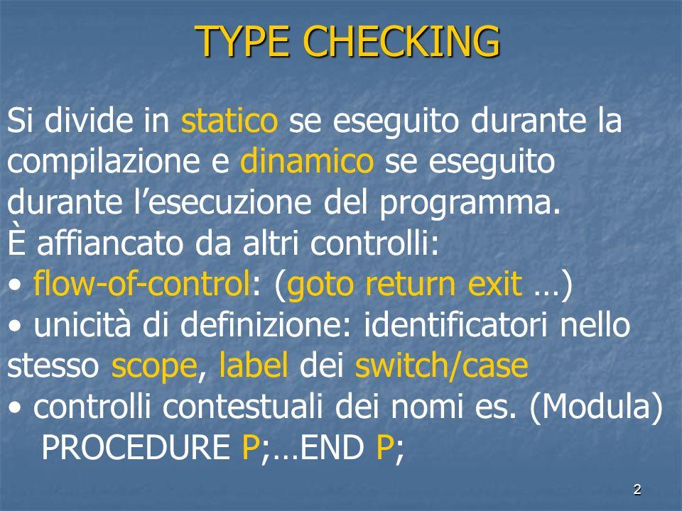 2 TYPE CHECKING TYPE CHECKING Si divide in statico se eseguito durante la compilazione e dinamico se eseguito durante lesecuzione del programma. È aff