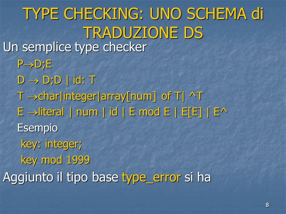 8 TYPE CHECKING: UNO SCHEMA di TRADUZIONE DS Un semplice type checker P D;E D D;D | id: T T char|integer|array[num] of T| ^T E literal | num | id | E mod E | E[E] | E^ Esempio key: integer; key: integer; key mod 1999 key mod 1999 Aggiunto il tipo base type_error si ha
