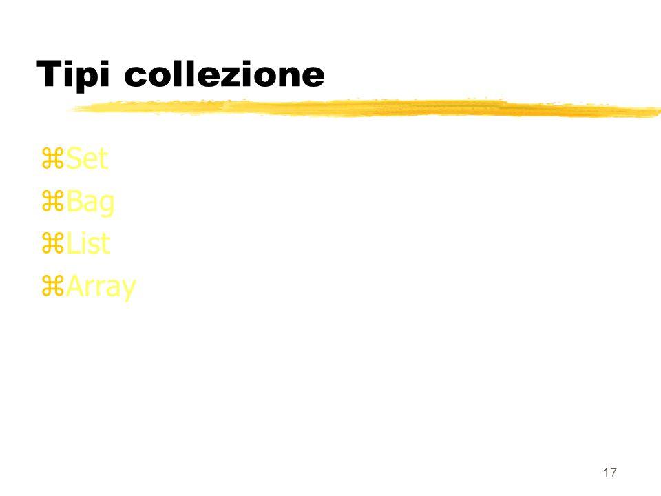 16 Esempio CREATE TABLE Impiegati( imp#id_impiegato, nomeVARCHAR(50), indirizzot_indirizzo, assegnamentoREF(t_progetto) SCOPE Progetti); Più impiegati possono riferire lo stesso progetto Un impiegato è assegnato al massimo ad un progetto