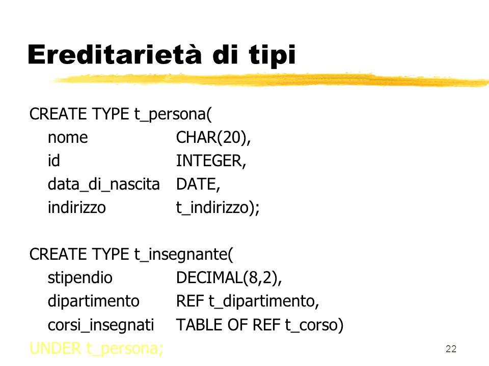 21 Ereditarietà zSi possono distinguere due tipi di ereditarietà yereditarietà di tipi yereditarietà di tabelle