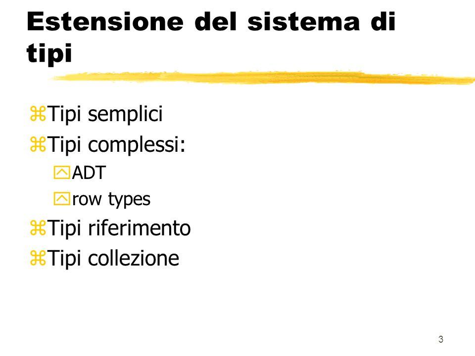 2 ORDBMS: caratteristiche generali zNuovi tipi di dato ytesti, immagini, audio/video, dati geografici, ecc.