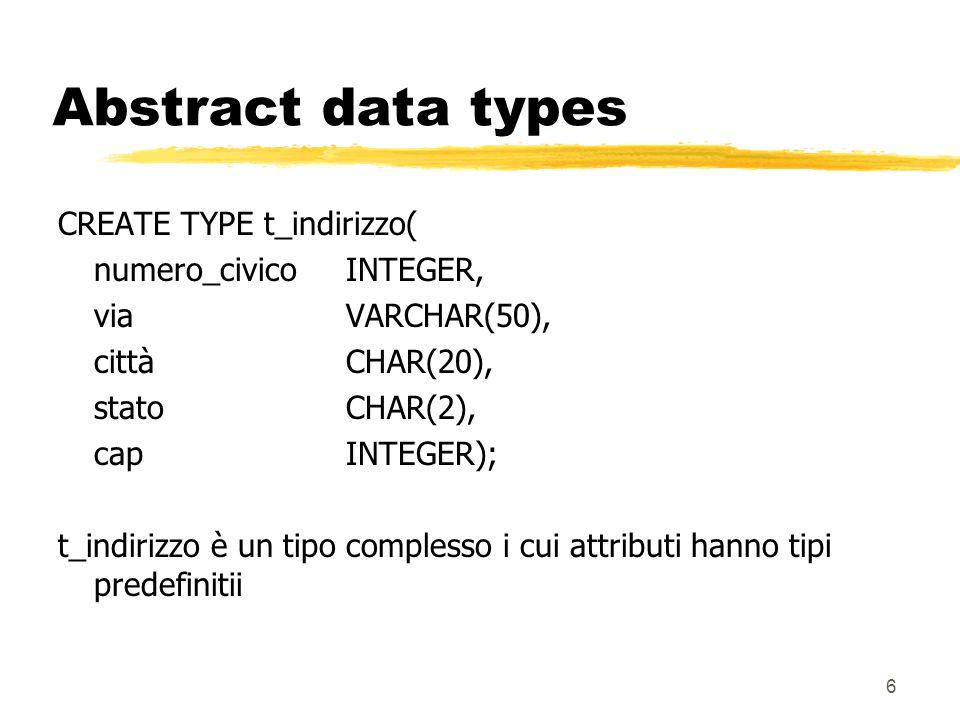 5 Tipi complessi zUn tipo complesso, o strutturato,include uno o più attributi zAnaloghi alle struct del C o ai record del Pascal z possono essere usati come: ytipi di una colonna in una relazione (ADT) ytipi di una tabella (row types)