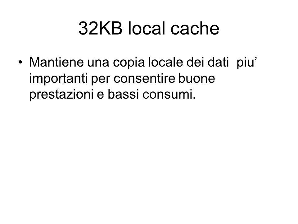 32KB local cache Mantiene una copia locale dei dati piu importanti per consentire buone prestazioni e bassi consumi.
