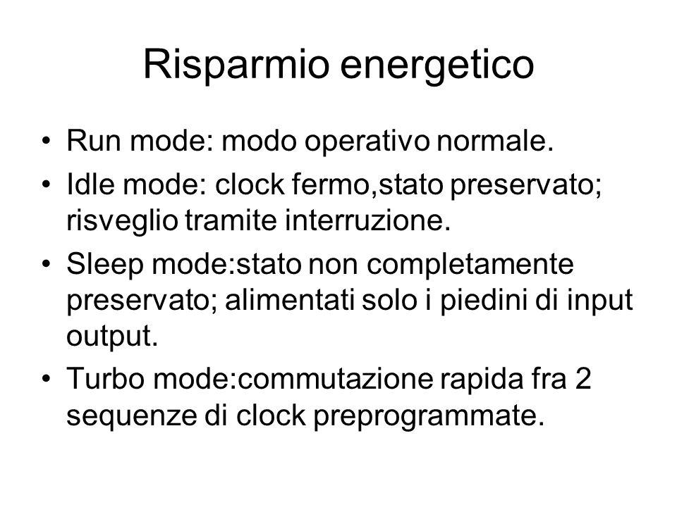 Risparmio energetico Run mode: modo operativo normale.