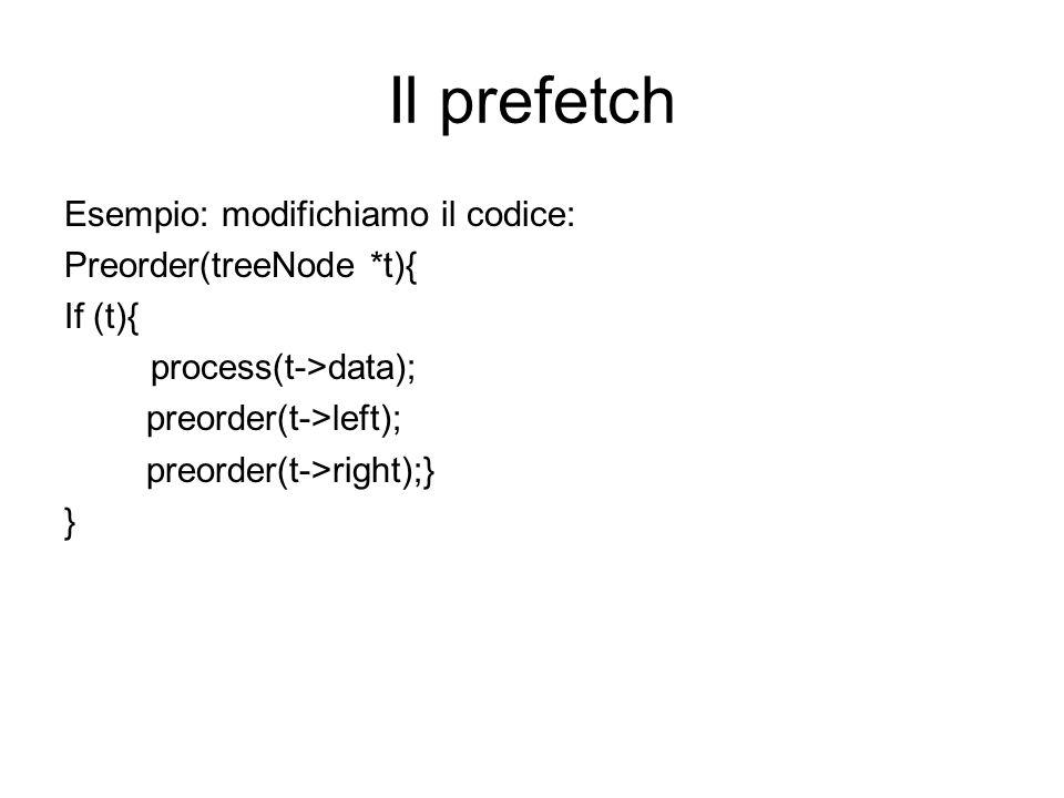 Il prefetch Esempio: modifichiamo il codice: Preorder(treeNode *t){ If (t){ process(t->data); preorder(t->left); preorder(t->right);} }