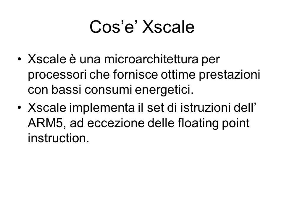 Cose Xscale Xscale è una microarchitettura per processori che fornisce ottime prestazioni con bassi consumi energetici.