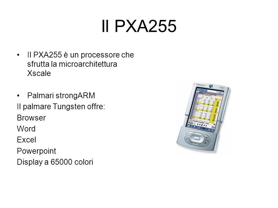 Il PXA255 Il PXA255 è un processore che sfrutta la microarchitettura Xscale Palmari strongARM Il palmare Tungsten offre: Browser Word Excel Powerpoint Display a 65000 colori