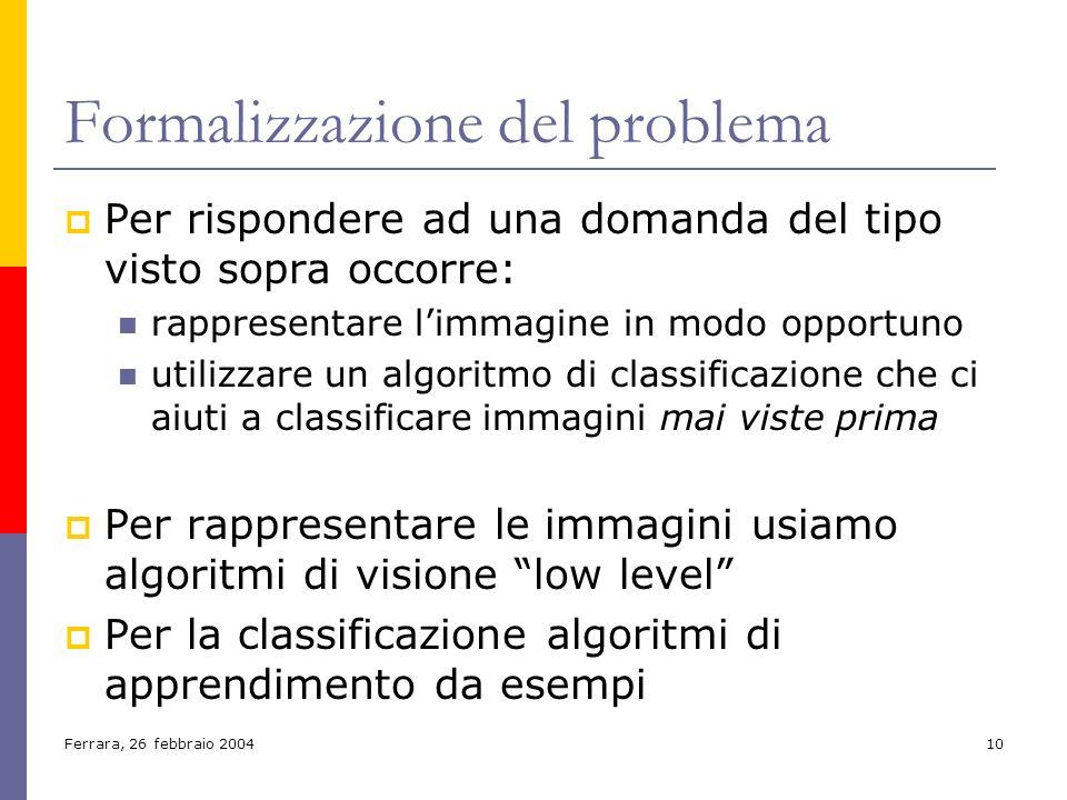 Ferrara, 26 febbraio 200410 Formalizzazione del problema Per rispondere ad una domanda del tipo visto sopra occorre: rappresentare limmagine in modo o