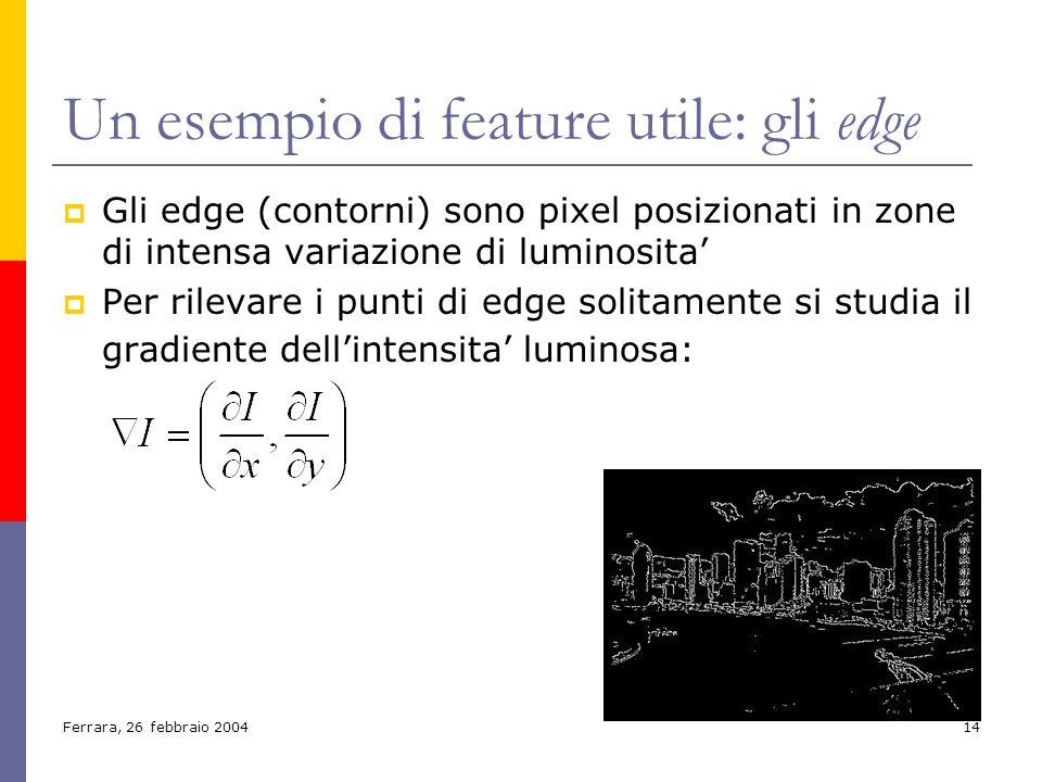 Ferrara, 26 febbraio 200414 Un esempio di feature utile: gli edge Gli edge (contorni) sono pixel posizionati in zone di intensa variazione di luminosi