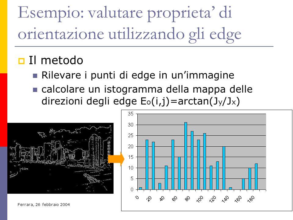 Ferrara, 26 febbraio 200418 Esempio: valutare proprieta di orientazione utilizzando gli edge Il metodo Rilevare i punti di edge in unimmagine calcolar