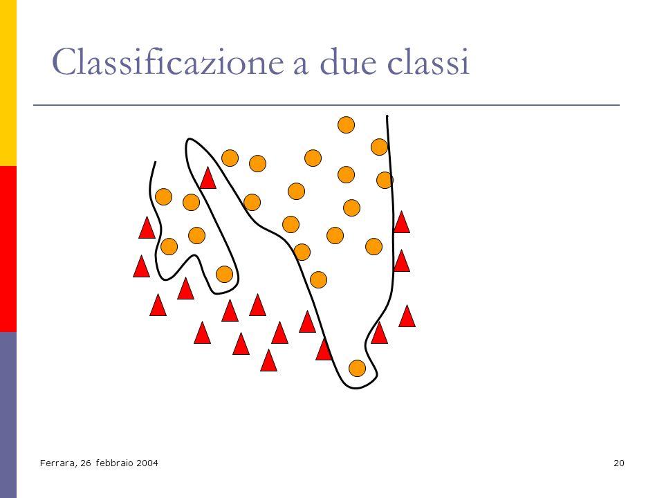 Ferrara, 26 febbraio 200420 Classificazione a due classi