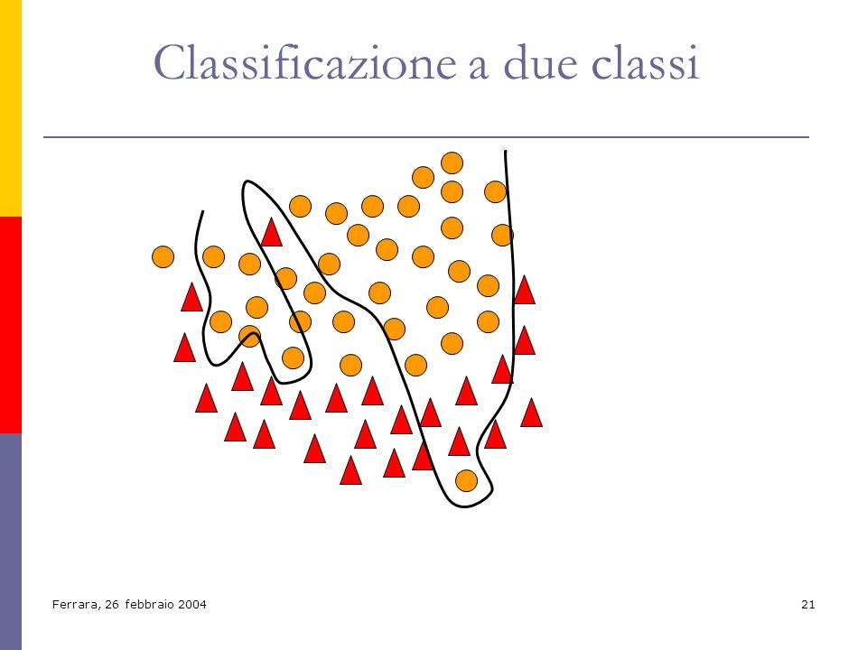 Ferrara, 26 febbraio 200421 Classificazione a due classi