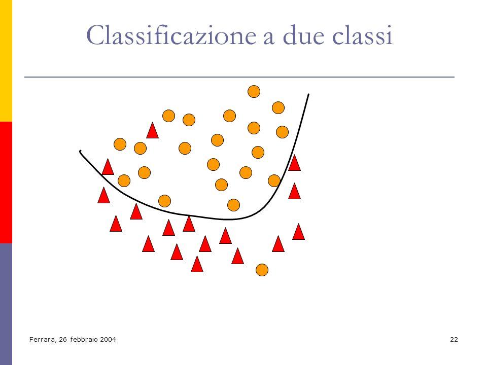 Ferrara, 26 febbraio 200422 Classificazione a due classi