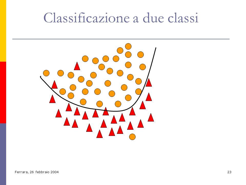 Ferrara, 26 febbraio 200423 Classificazione a due classi