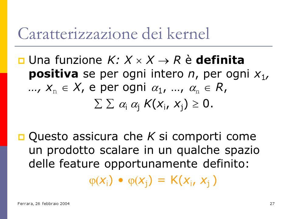 Ferrara, 26 febbraio 200427 Caratterizzazione dei kernel Una funzione K: X X R è definita positiva se per ogni intero n, per ogni x 1, …, x n X, e per