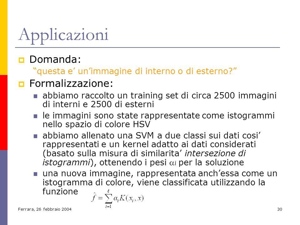 Ferrara, 26 febbraio 200430 Applicazioni Domanda: questa e unimmagine di interno o di esterno? Formalizzazione: abbiamo raccolto un training set di ci