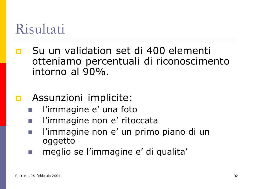 Ferrara, 26 febbraio 200432 Risultati Su un validation set di 400 elementi otteniamo percentuali di riconoscimento intorno al 90%. Assunzioni implicit