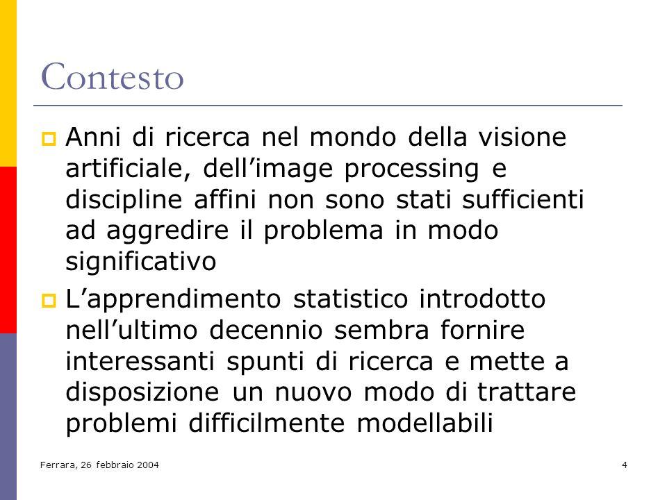 Ferrara, 26 febbraio 20044 Contesto Anni di ricerca nel mondo della visione artificiale, dellimage processing e discipline affini non sono stati suffi