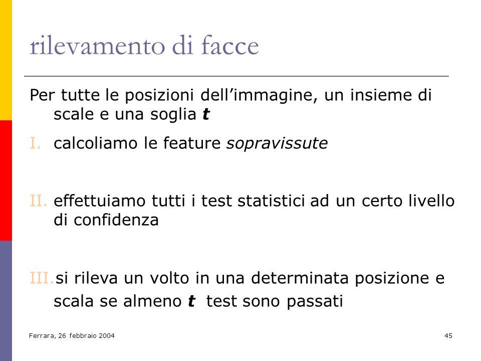 Ferrara, 26 febbraio 200445 rilevamento di facce Per tutte le posizioni dellimmagine, un insieme di scale e una soglia t I.calcoliamo le feature sopra