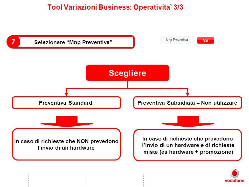 Tool Variazioni Business: Operativita` 3/3 Selezionare Mnp Preventiva 7 Scegliere Preventiva Subsidiata – Non utilizzare In caso di richieste che prev
