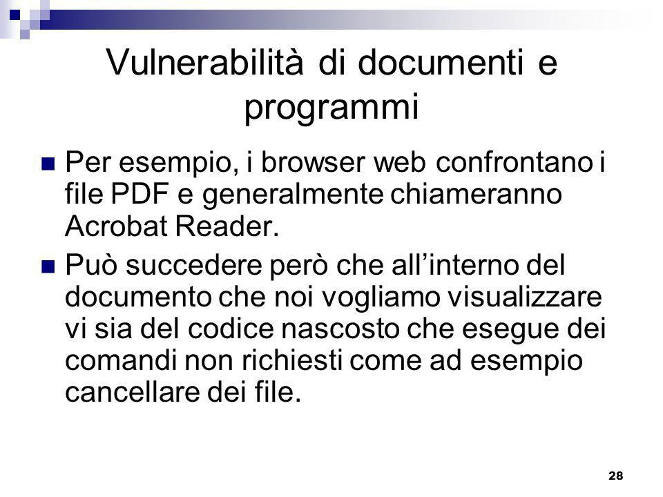 28 Vulnerabilità di documenti e programmi Per esempio, i browser web confrontano i file PDF e generalmente chiameranno Acrobat Reader.