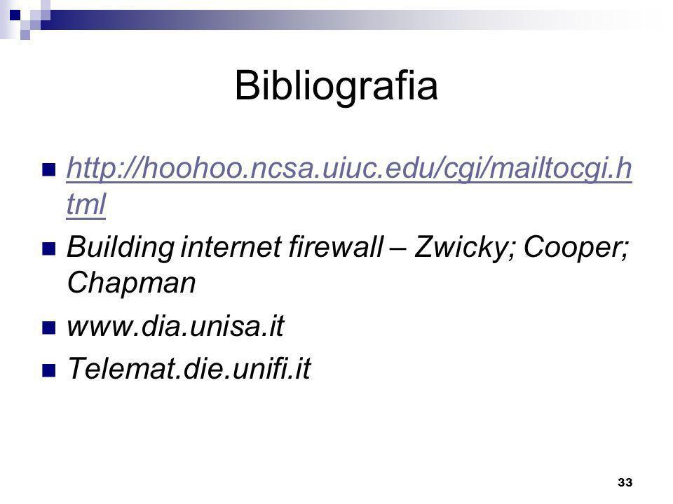 33 Bibliografia http://hoohoo.ncsa.uiuc.edu/cgi/mailtocgi.h tml http://hoohoo.ncsa.uiuc.edu/cgi/mailtocgi.h tml Building internet firewall – Zwicky; Cooper; Chapman www.dia.unisa.it Telemat.die.unifi.it