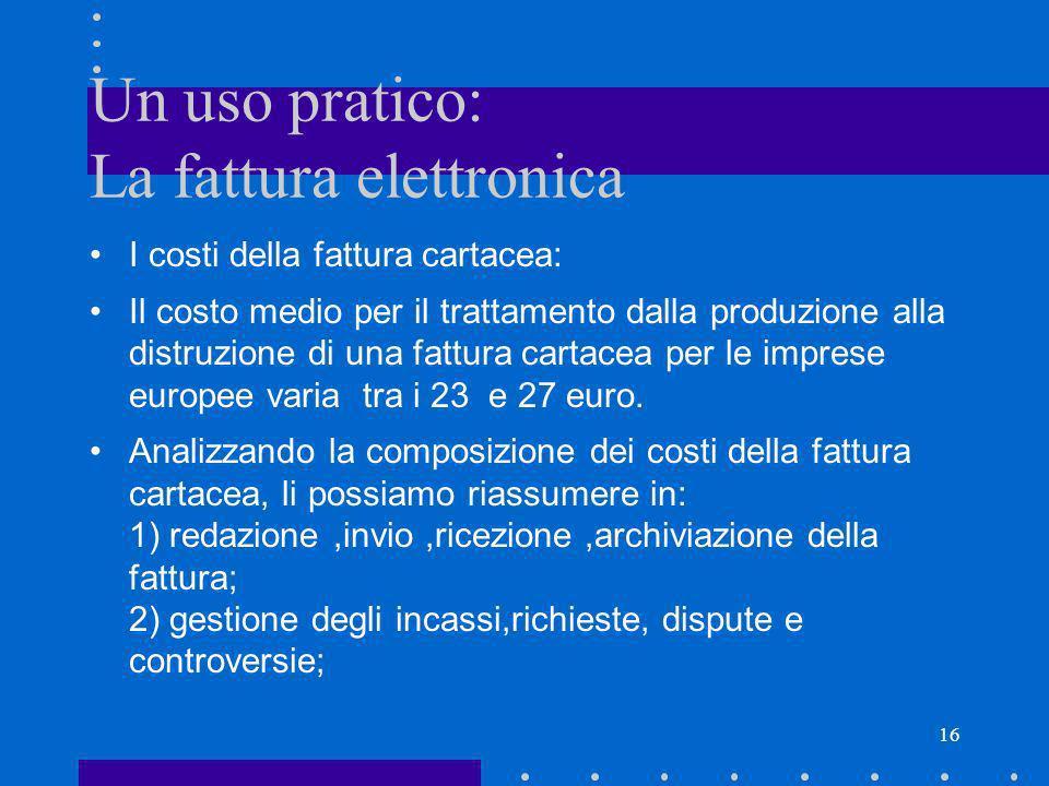 16 Un uso pratico: La fattura elettronica I costi della fattura cartacea: Il costo medio per il trattamento dalla produzione alla distruzione di una f