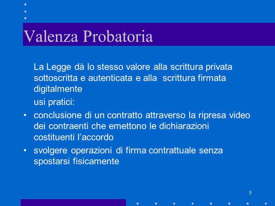 3 Valenza Probatoria La Legge dà lo stesso valore alla scrittura privata sottoscritta e autenticata e alla scrittura firmata digitalmente usi pratici: