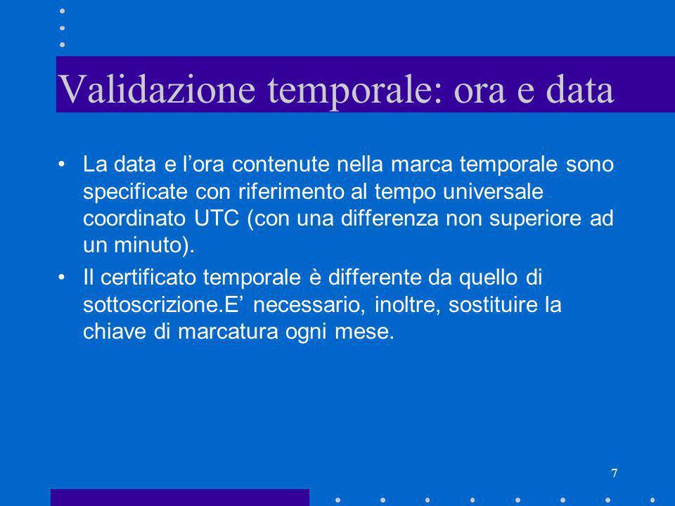7 Validazione temporale: ora e data La data e lora contenute nella marca temporale sono specificate con riferimento al tempo universale coordinato UTC