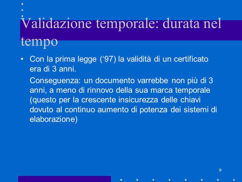 9 Validazione temporale: durata nel tempo Con la prima legge (97) la validità di un certificato era di 3 anni. Conseguenza: un documento varrebbe non