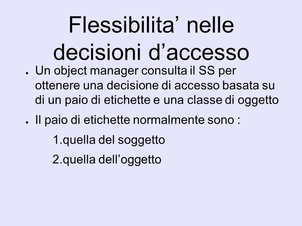 Flessibilita nelle decisioni daccesso Un object manager consulta il SS per ottenere una decisione di accesso basata su di un paio di etichette e una classe di oggetto Il paio di etichette normalmente sono : 1.quella del soggetto 2.quella delloggetto