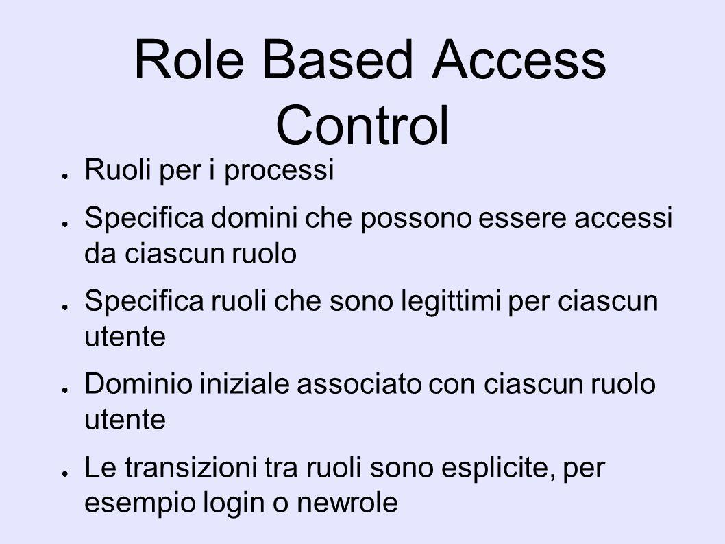 Role Based Access Control Ruoli per i processi Specifica domini che possono essere accessi da ciascun ruolo Specifica ruoli che sono legittimi per ciascun utente Dominio iniziale associato con ciascun ruolo utente Le transizioni tra ruoli sono esplicite, per esempio login o newrole