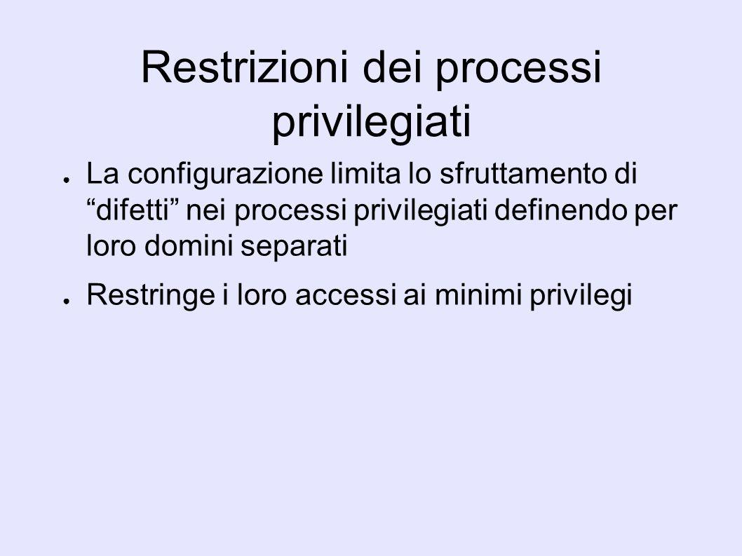 Restrizioni dei processi privilegiati La configurazione limita lo sfruttamento di difetti nei processi privilegiati definendo per loro domini separati Restringe i loro accessi ai minimi privilegi