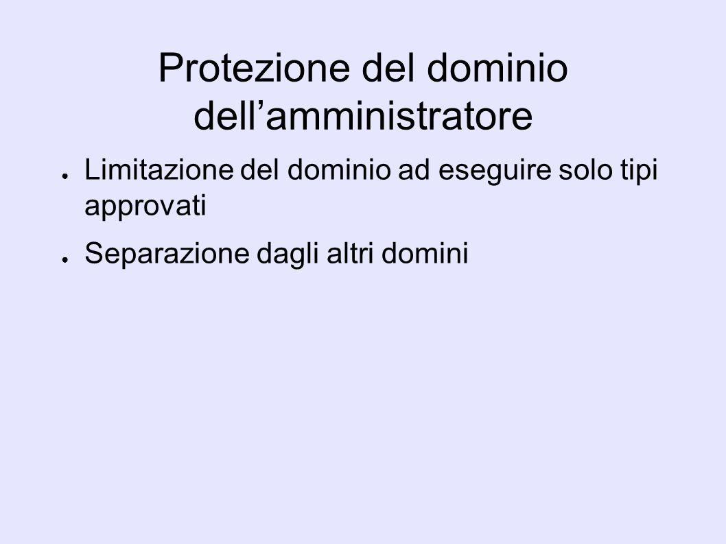 Protezione del dominio dellamministratore Limitazione del dominio ad eseguire solo tipi approvati Separazione dagli altri domini