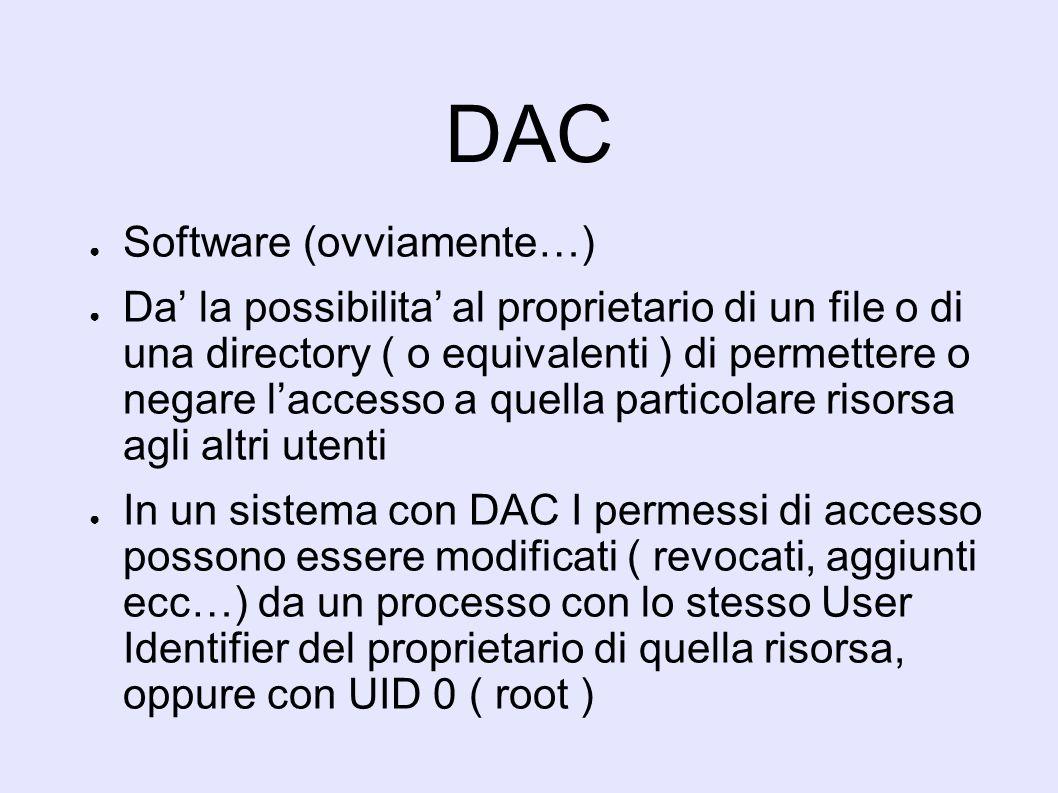 DAC Software (ovviamente…) Da la possibilita al proprietario di un file o di una directory ( o equivalenti ) di permettere o negare laccesso a quella particolare risorsa agli altri utenti In un sistema con DAC I permessi di accesso possono essere modificati ( revocati, aggiunti ecc…) da un processo con lo stesso User Identifier del proprietario di quella risorsa, oppure con UID 0 ( root )