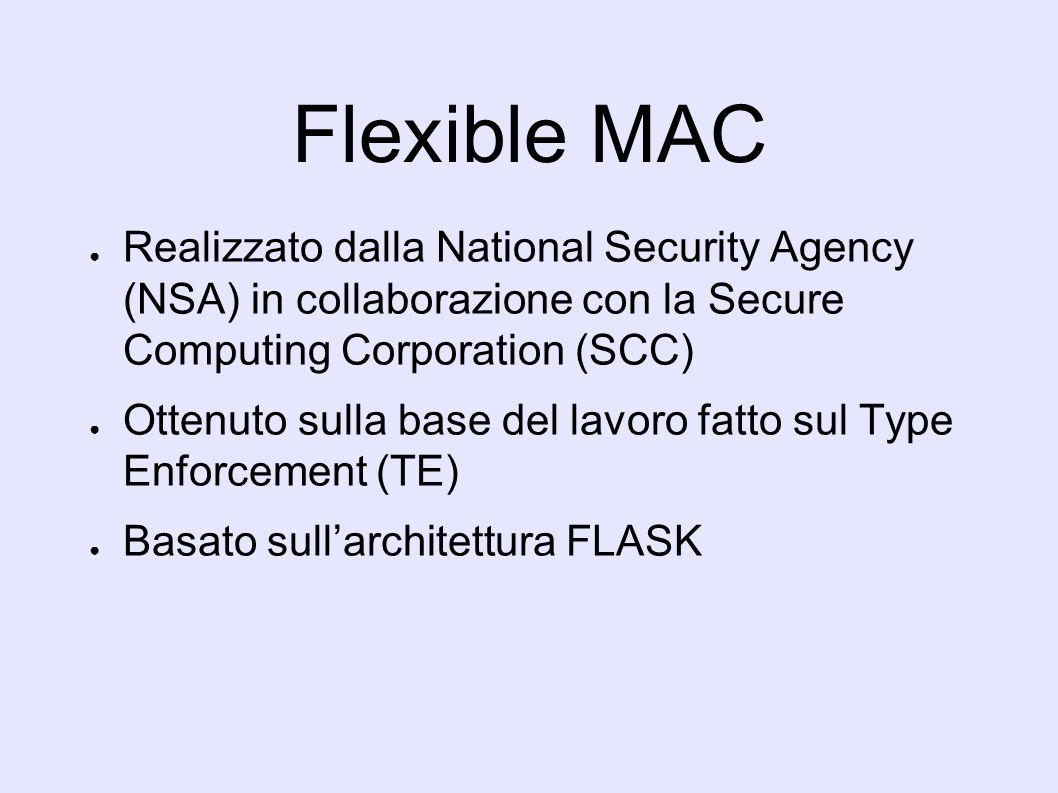 Flexible MAC Realizzato dalla National Security Agency (NSA) in collaborazione con la Secure Computing Corporation (SCC) Ottenuto sulla base del lavoro fatto sul Type Enforcement (TE) Basato sullarchitettura FLASK